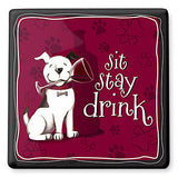 Sit, Stay, Drink Ceramic Trivet