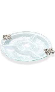 Fleur De Lis Bubble Glass Divided Dish