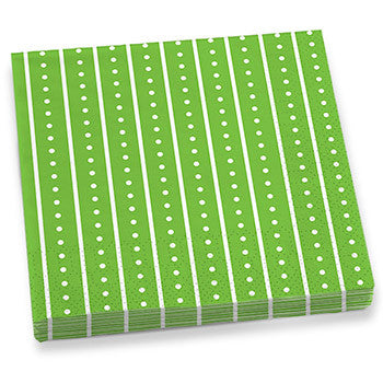 Green Stripes & Dots Dinner Napkins