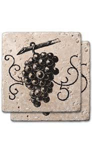 Engraved Grapes Stone Coaster Set