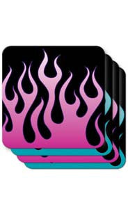 Pink & Blue Flames Coasters