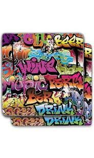 Graffiti Stone Coaster Set