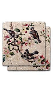 Blossoms & Birds Stone Coasters