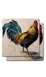 Farmhouse Rooster Stone Coasters