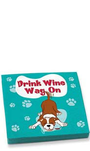 Drink Wine, Wag On Beverage Napkins