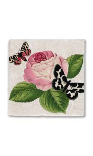 Butterflies & Pink Peony Stone Magnet