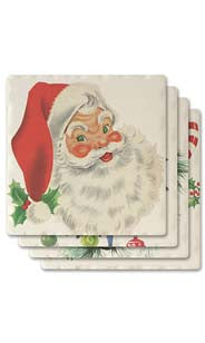 Traditional Holiday Absorbent Ceramic Coaster Set