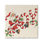Traditional Candy Cane Joy Absorbent Ceramic Coaster