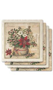 Poinsettia Bouquet Absorbent Ceramic Coaster Set