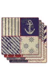 Nautical Quilt Absorbent Ceramic Coaster Set