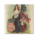 Lady Liberty With Shield Absorbent Ceramic Coaster