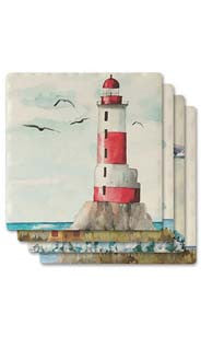 Lighthouse Absorbent Ceramic Coaster Set
