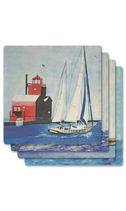 Sailboats Absorbent Ceramic Coaster Set