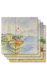 Boating Absorbent Ceramic Coaster Set