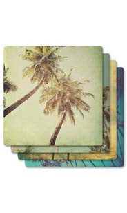 Palm Trees Absorbent Ceramic Coaster Set