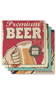 Vintage Beer Signs Absorbent Ceramic Coaster Set