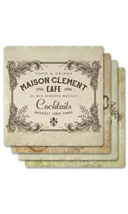 Vintage Labels Absorbent Ceramic Coaster Set
