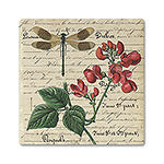 Dragonfly & Floral Absorbent Ceramic Coaster