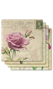 Floral Postcards Absorbent Ceramic Coaster Set