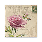 Rose Postcard Absorbent Ceramic Coaster