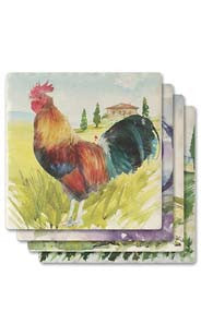 Roosters Absorbent Ceramic Coaster Set