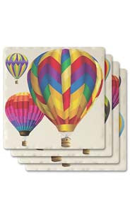 Hot Air Balloons Absorbent Ceramic Coaster Set