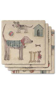 Dogs Absorbent Ceramic Coaster Set