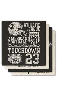 Vintage Football Absorbent Ceramic Coaster Set