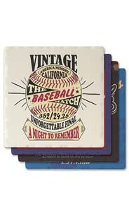 Vintage Baseball Absorbent Ceramic Coaster Set