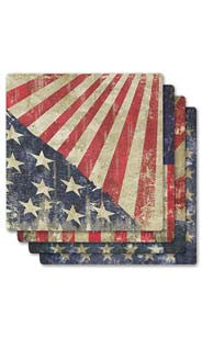 Vintage American Flag Absorbent Ceramic Coaster Set