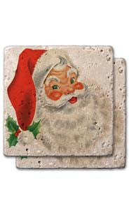 Traditional Santa Stone Coaster Set