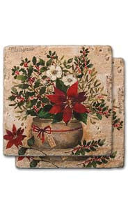 Large Poinsettia Bouquet Stone Coaster Set