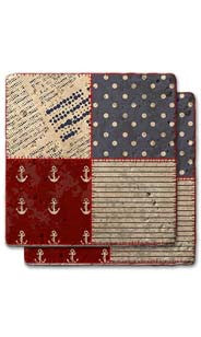 Anchor & Dot Quilt Stone Coaster Set