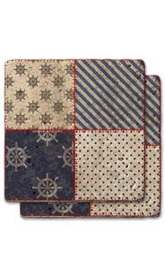 Captain's Wheel & Diagonal Quilt Stone Coaster Set