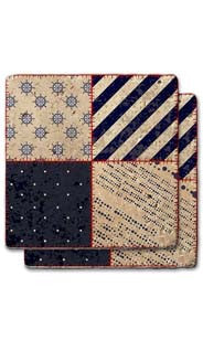 Small Dot & Large Diagonal Quilt Stone Coaster Set