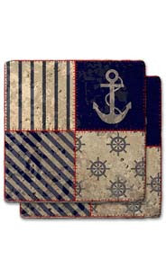 Stripe & Large Anchor Quilt Stone Coaster Set