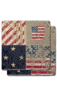 Flag & Stars Stone Coaster Set