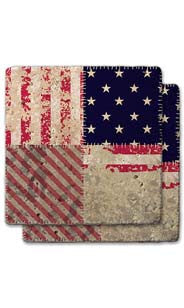 Small Stars & Diagonal Stripes Stone Coaster Set