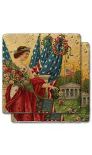 Lady Liberty With Bouquet Stone Coaster Set