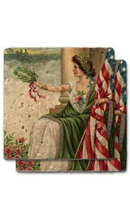 Lady Liberty With Wreath Stone Coaster Set