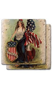 Lady Liberty With Shield Stone Coaster Set