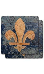 Distressed Fleur De Lis Stone Coaster Set