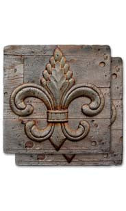 Weathered Fleur De Lis Stone Coaster Set