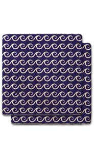 Wave Pattern Stone Coaster Set