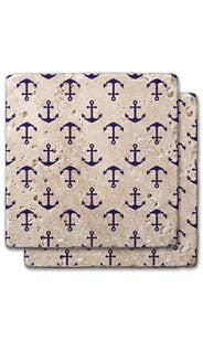 Anchor Pattern Stone Coaster Set
