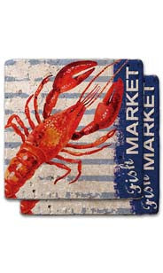 Fish Market Stone Coaster Set