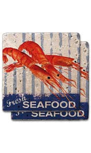 Fresh Seafood Stone Coaster Set