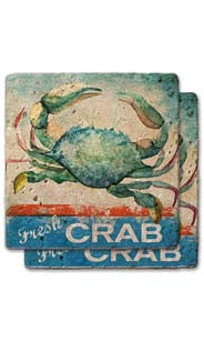 Fresh Crab Stone Coaster Set