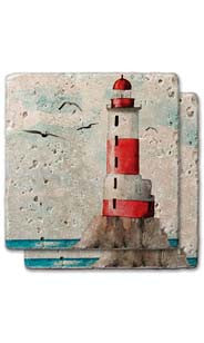 Red Lighthouse Stone Coaster Set