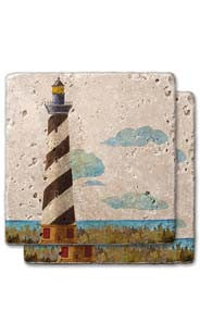 Burgundy Striped Lighthouse Stone Coaster Set